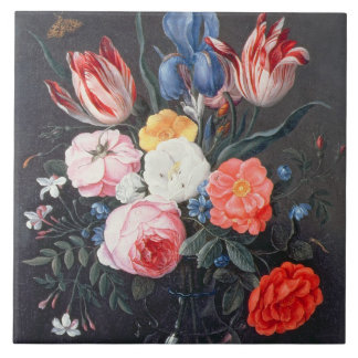 T32511 Still Life of Flowers in a Vase, 1661 (see Large Square Tile