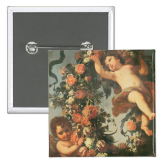T32714 Two Putti Supporting a Flower Garland 15 Cm Square Badge