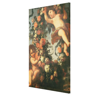 T32714 Two Putti Supporting a Flower Garland Gallery Wrapped Canvas