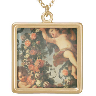T32714 Two Putti Supporting a Flower Garland Gold Plated Necklace