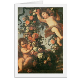 T32714 Two Putti Supporting a Flower Garland Greeting Card