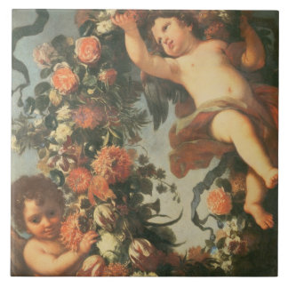 T32714 Two Putti Supporting a Flower Garland Large Square Tile