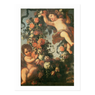 T32714 Two Putti Supporting a Flower Garland Postcard