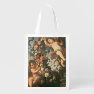 T32714 Two Putti Supporting a Flower Garland Reusable Grocery Bag