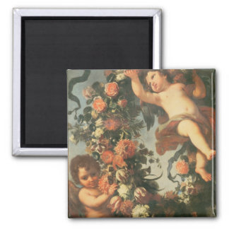 T32714 Two Putti Supporting a Flower Garland Square Magnet