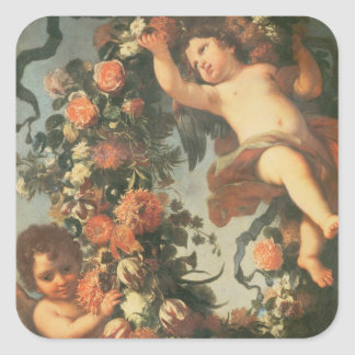 T32714 Two Putti Supporting a Flower Garland Square Sticker
