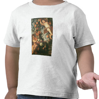 T32714 Two Putti Supporting a Flower Garland Tee Shirt
