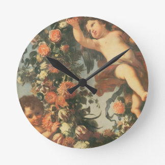 T32714 Two Putti Supporting a Flower Garland Wall Clock