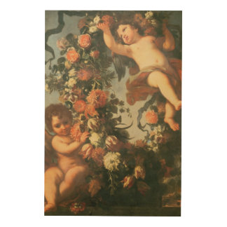 T32714 Two Putti Supporting a Flower Garland Wood Prints