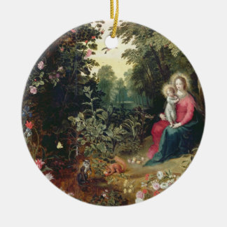 T32789 The Madonna and Child in a Landscape (panel Christmas Ornament
