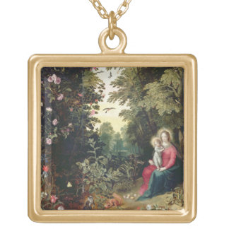 T32789 The Madonna and Child in a Landscape (panel Personalized Necklace