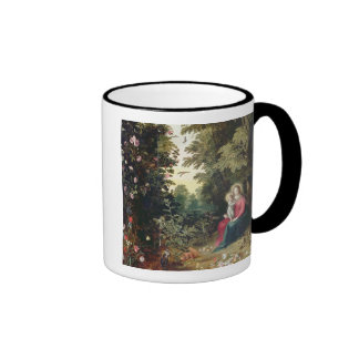 T32789 The Madonna and Child in a Landscape (panel Ringer Mug