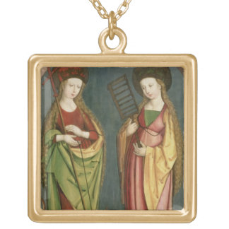 T32982 St. Margaret of Antioch and St. Faith, c.15 Gold Plated Necklace
