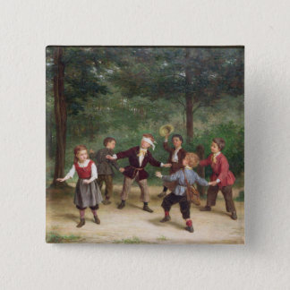 T33268 Blind Man's Buff 91316me; children; playing 15 Cm Square Badge