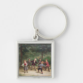T33268 Blind Man's Buff 91316me; children; playing Silver-Colored Square Key Ring