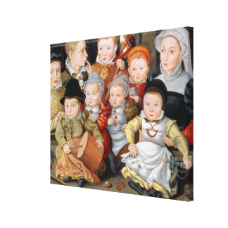 T33337 Portrait of a mother with her eight childre Canvas Print