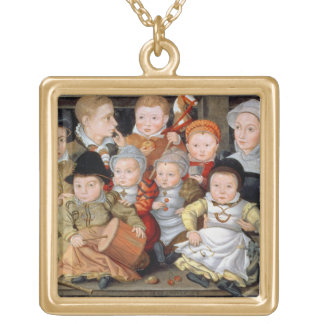 T33337 Portrait of a mother with her eight childre Gold Plated Necklace