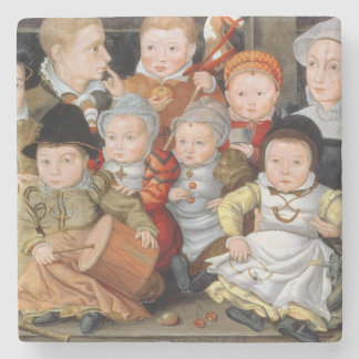 T33337 Portrait of a mother with her eight childre Stone Coaster