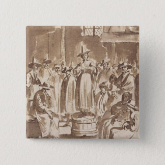T34029 A Quaker Prayer Meeting (pen & ink on paper 15 Cm Square Badge