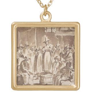 T34029 A Quaker Prayer Meeting (pen & ink on paper Square Pendant Necklace