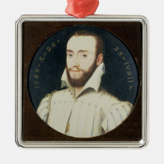 T34055 Portrait of a Bearded Gentleman, Aged 26, 1 Silver-Colored Square Decoration