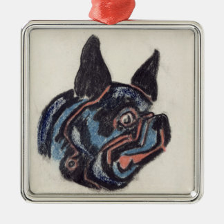 T35228 Dog (pastel on paper) Silver-Colored Square Decoration