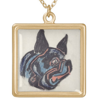 T35228 Dog (pastel on paper) Square Pendant Necklace