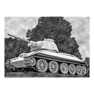 T-34 Russian Tank,Soviet Memorial,Berlin - B&W(2) Custom Invites