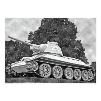 T-34 Russian Tank,Soviet Memorial,Berlin - B&W(2) 5x7 Paper Invitation Card