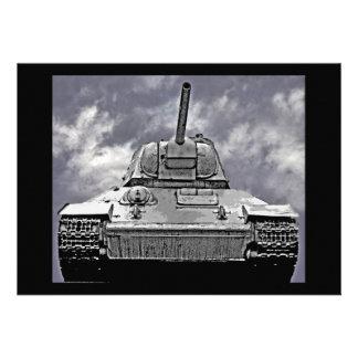 T-34 Russian Tank Soviet Memorial Berlin - B W Invitation