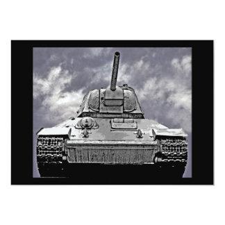 T-34 Russian Tank,Soviet Memorial,Berlin - B&W 5x7 Paper Invitation Card
