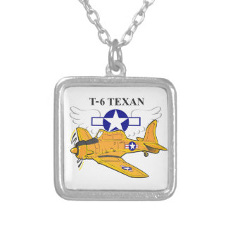 T-6 Texan Silver Plated Necklace