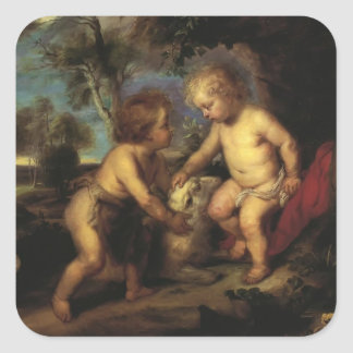 T. C. Steele-Christ Child and the Infant St. John Square Stickers
