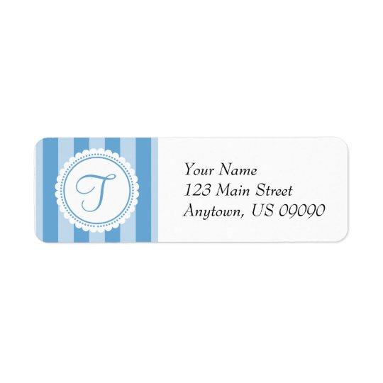T Candy Striper Monogram Address Labels (Blue)
