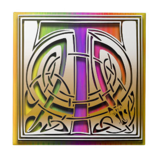 T Celtic Rainbow Custom Monogram Tile