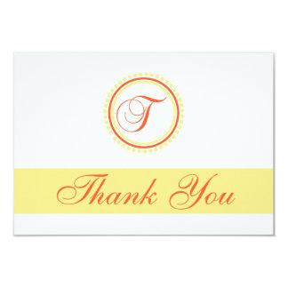 T Dot Circle Monogam Thank You (Orange / Yellow) Custom Invites