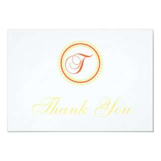 T Dot Circle Monogam Thank You (Orange / Yellow) Custom Announcement