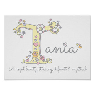 T for Tania monogram letter art name meaning Poster