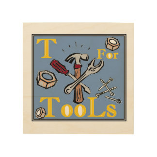 """T"" for Tools Wood Wall Art"