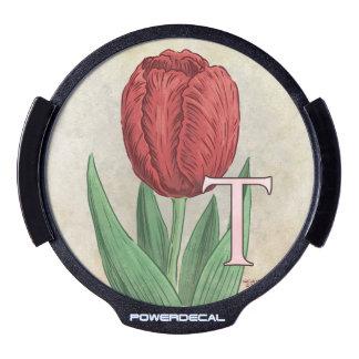 T for Tulip Flower Monogram LED Window Decal