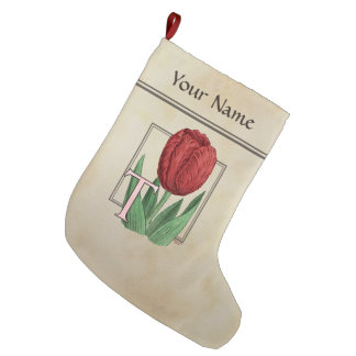 T for Tulip Flower Monogram Large Christmas Stocking