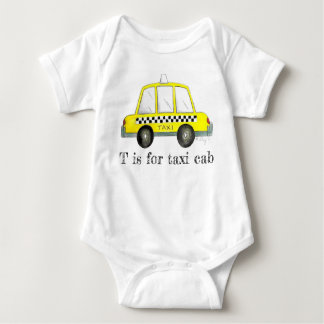 T is for Taxi Cab Yellow NYC New York City Checker Baby Bodysuit