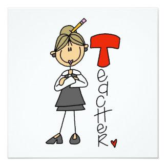T is for Teacher 13 Cm X 13 Cm Square Invitation Card