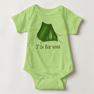 T is for Tent Green Camp Camping Tent Alphabet Baby Bodysuit