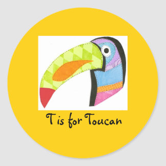 T is for Toucan Classic Round Sticker