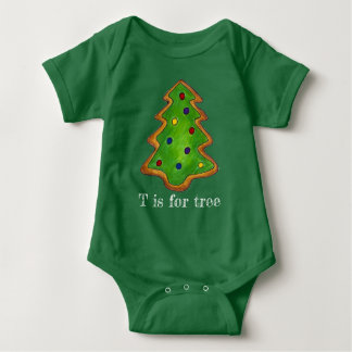 T is for Tree Christmas Tree Green Cookie Holiday Baby Bodysuit