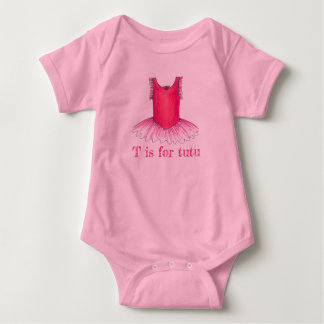T is for Tutu Pink Ballerina Ballet Costume Dance Baby Bodysuit