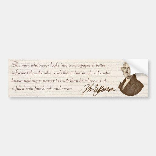 T. Jefferson: Truth & Newspapers - Bumper Sticker