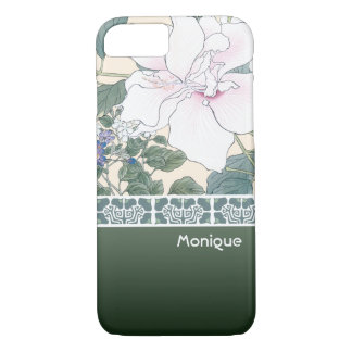"T Kônan Wood Block Print ""Hibiscus and Browallia"" iPhone 8/7 Case"