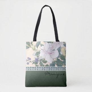 """T Kônan Wood Block Print """"Hibiscus and Browallia"""" Tote Bag"""